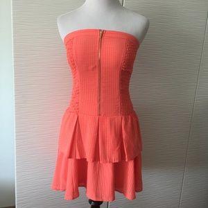 Bebe Strapless Zipper Dress in orange